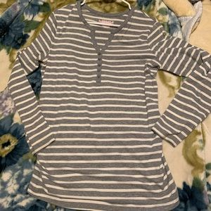 Grey and White striped quarter button down blouse